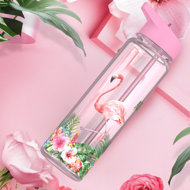 Bpa Free 750ml 100%Tritan Sports Outdoor Straw Water Bottle With Flamingos Printing My Drink Juice Handle The Unicorn Kettle 2