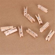 D07-26 a large number of spot color photo wall wooden logs color wooden clip clip DIY 3.5CM Stationery for office supplies(China)
