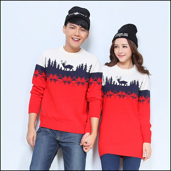 9c736a70a3e62 Matching Christmas Sweaters Set For Men Women Lovers His And Hers Couple Christmas  Sweaters Dress With Deer Snow Flake