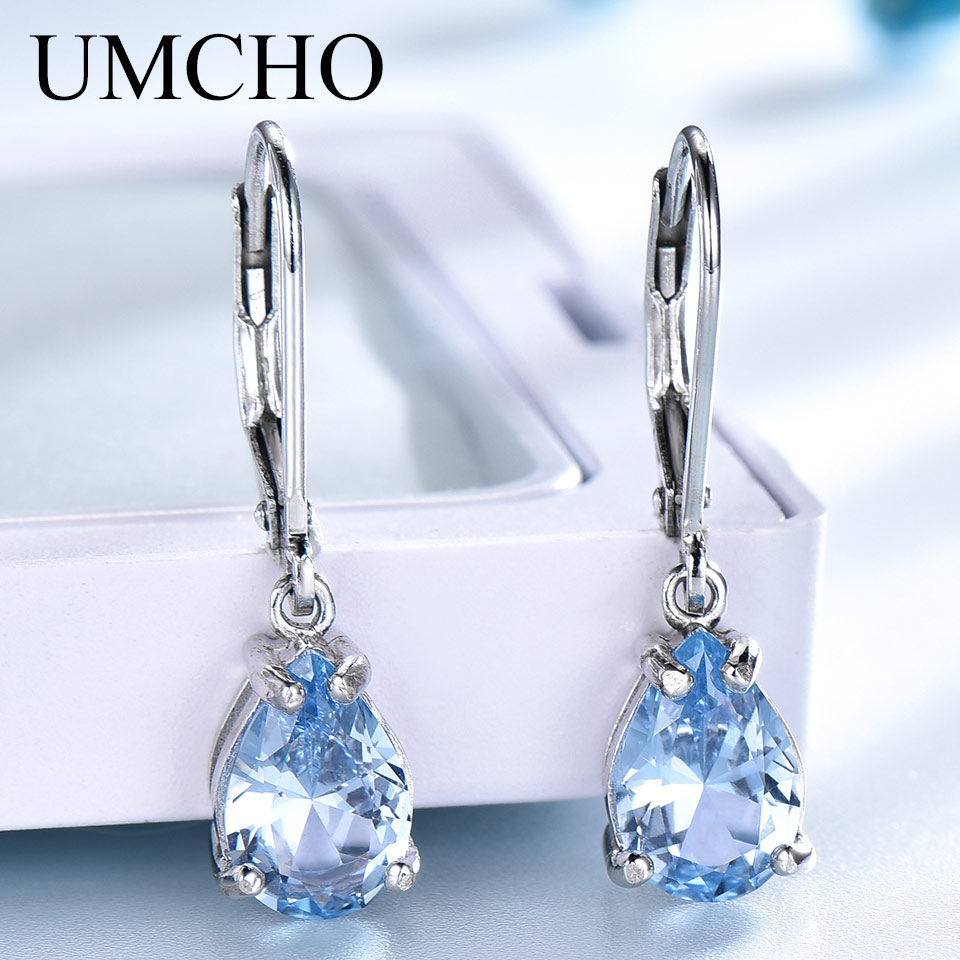 UMCHO Water Drop Created Sky Blue Topaz Clip Earrings Gemstones 925 Silver Jewelry For Women Elegant Wedding Gift Fine Jewelry blue gemstones decor four pieces jewelry set page 6
