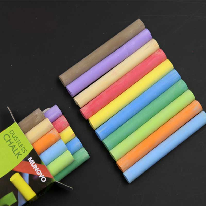 10pcs/pack Quality White Colored Dustless Chalk Sticks For Blackboard Chalkboard School Office Art Crafts Stationery