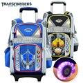 The transformers cartoon trolley/ruedas de la escuela/libros/niños/niños bolsa de rolling mochila desmontable cartera para niños de grado 1-3