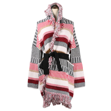 Tunjuefs Loose Pockets Knitted Cardigans Women Sweater Coat Shrug Plus Size Runway Sashes Maxi Striped Cardigans Top Winter