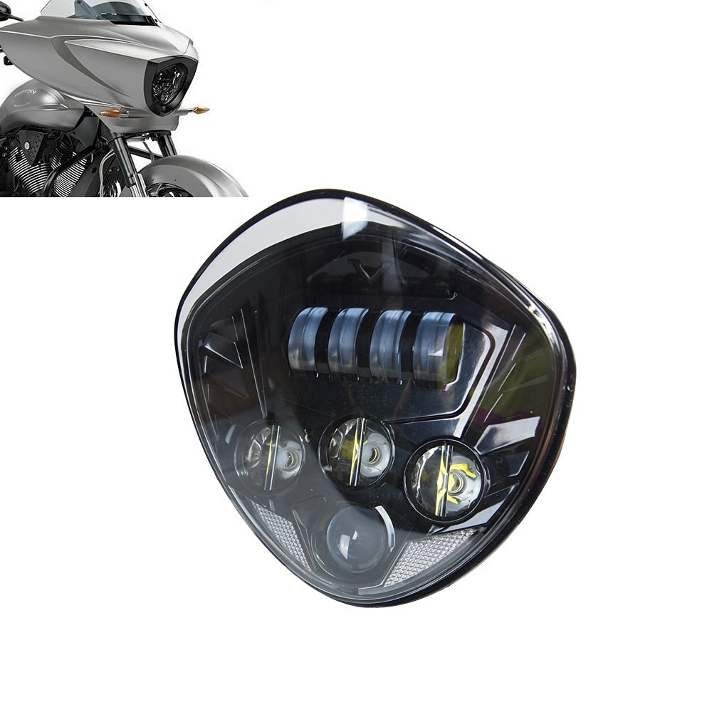 ФОТО  Promption! Motorcycle LED Headlight Kit - High-Intensity Cross Country For Victory 2007-2016 Cruisers With Bullet Style Headlig