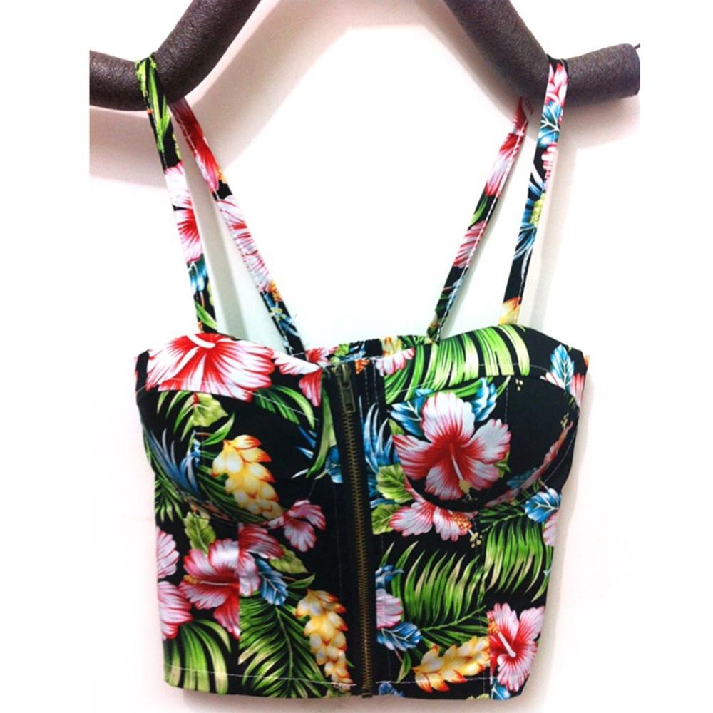 Women Bralette Zipper Padded Bra Bustier Crop Top Blouse Summer Party Beach Tank Shirt