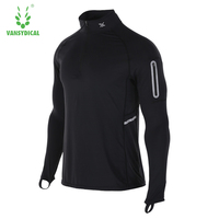 Vansydical T Shirt Men Quick dry T Shirt Full Sleeve tshirt Men Solid Color T shirts tops tees High collar Long Shirt