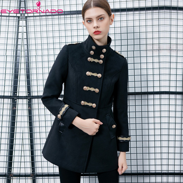Women autumn double breasted gold embroidery button wool coat slim fit casual work military army woolen blends coat outwear 7527