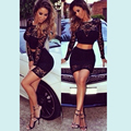 2016 Black Lace 2 Piece Bandage Dress Women Long Sleeve High Waisted Cropped Outfit Two Piece Bodycon Party Dress Clubwear 21421