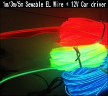 1m/3m/5m Sewable EL Wire Tron Glow Wire Easy Sew Tag flexible led Neon Strip + 12V car inverter driver Free shipping