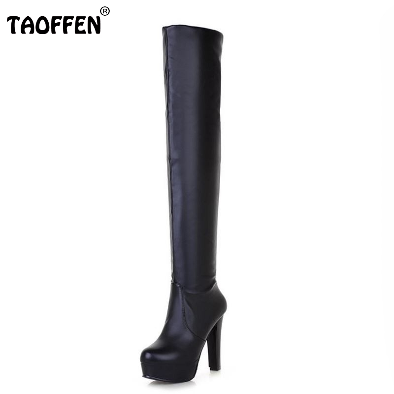 TAOFFEN Free shipping over knee high heel boots women snow fashion winter warm shoes boot P15869 EUR size 32-45 free shipping over knee high heel boots women snow fashion winter warm footwear shoes boot p15646 eur size 30 49