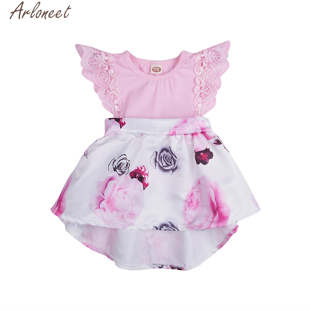 ARLONEET Toddler Infant Baby Girls Dress Floral Print Lace Dresses Outfits Children Dresses Summer May10 W20d30 Drop Ship