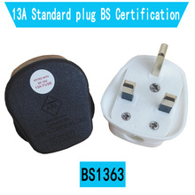 White Black 3 Pin UK Mains Top Plug Connector Cord Adapter 13A 3250W Appliance Power Socket Fused Adapter Household