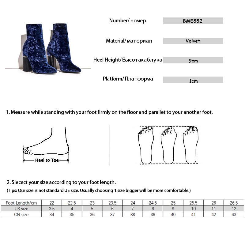 Baimier Winter Velvet Ankle Boots For Women Chunky Heel Women Sock Boots Pointed Toe High Heels Boots Women Luxury Shoes Woman 7