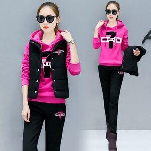 Image 2 - Plus rozmiar dres dla kobiet 2 sztuka zestawy 2020 pant garnitury i top bluzy stroje 3 sztuk sportsuits wysokiej jakości czarne ubranie