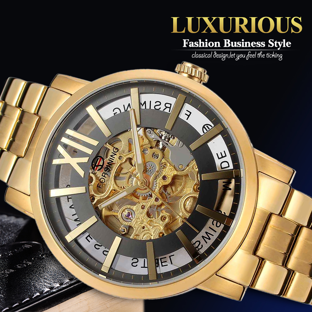 купить Forsining Brand Analog Automatic Watch Men Waterproof Fashion Casual Business Watch Men Steel Wristwatch по цене 5167.81 рублей