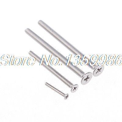 100Pcs M3 Serial GB Stainless Steel 304 Flat Head Drive Phillips Screw M3X40