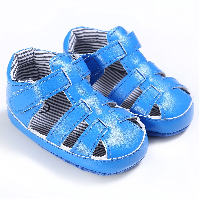 Summer PU Baby Boys Stripe Breathable Hollow Out Anti-slip Flip Flop Newborn Cack Sandal Shoes