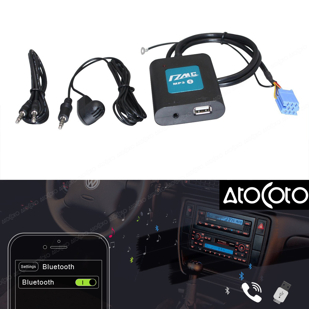Car USB Adapter Bluetooth Stereo Radio Interface AUX For Volkswagen 8 Pin