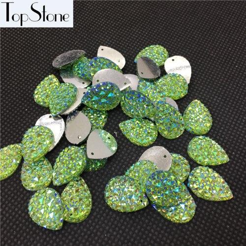 Каплевидные Пришивные бусины 100 шт 10x14 мм 13x18 мм цвета кристалл AB смолы Flatback пришивные стразы 2 отверстия для повседневного платья - Цвет: peridot ab