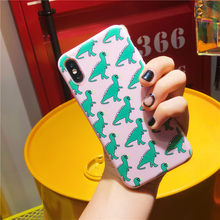 Cute Dinosaur Patterned Phone Case For iphone 6 6S 7 8 plus Cases For iphone X 5 5S SE XR XS Max Soft Cover Cartoon Matte Capa(China)