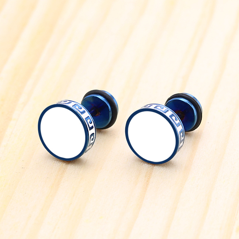 1 Piece Titanium Steel Punk Earings Men Drip Oil Round Earrings Blue Stud Earrings Punk Earrings Black Non fading in Stud Earrings from Jewelry Accessories