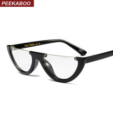 13649bb125 Peekaboo black vintage cat eye glasses frame clear fashion flat top  transparent eyeglasses small frame women female