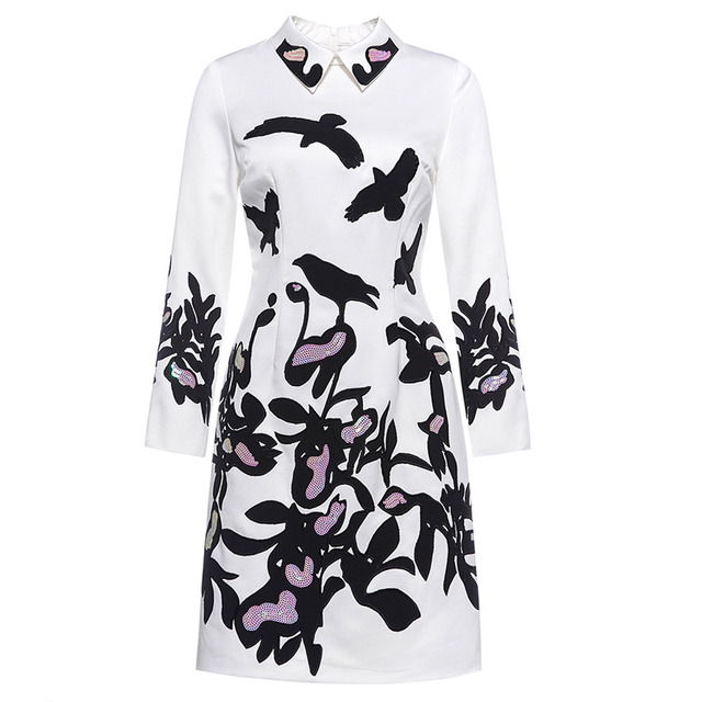 2016 Womens Print Knee-Length Dress Turn-down Collar Embroidery with Sequin Illusion Long Sleeve Slim Cocktail Party Dresses