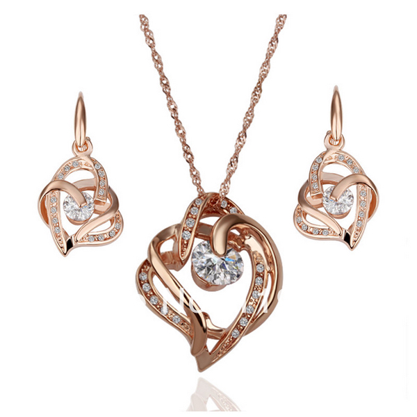 LS072 Fashion 18K Rose Gold Plated Austrian Crystal Pave Heart Pendant Necklace Dangle Earring Women Rhinestone