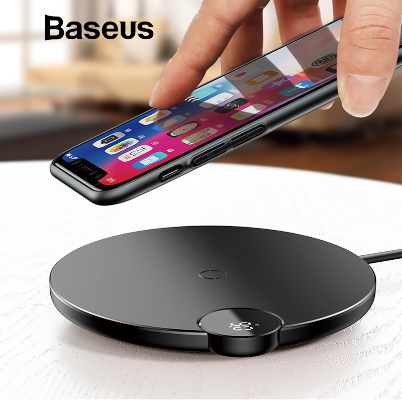 Baseus LCD pantalla Digital cargador inalámbrico para iPhone XS Max XR 8X8 inalámbrico Qi almohadilla de carga para Samsung Galaxy s8 S9 + Nota 9