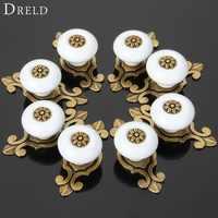 Dredd 8 piezas manija de muebles blancos perillas de gabinete de cerámica y manijas puerta armario cajón cocina tirador accesorios de muebles