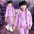 Children 's Girls 3pcs Set 2016 Autumn & Winter Girls Cotton High Quality Sweatshirt Plus Velvet Thick Embroidery Sets3-12years