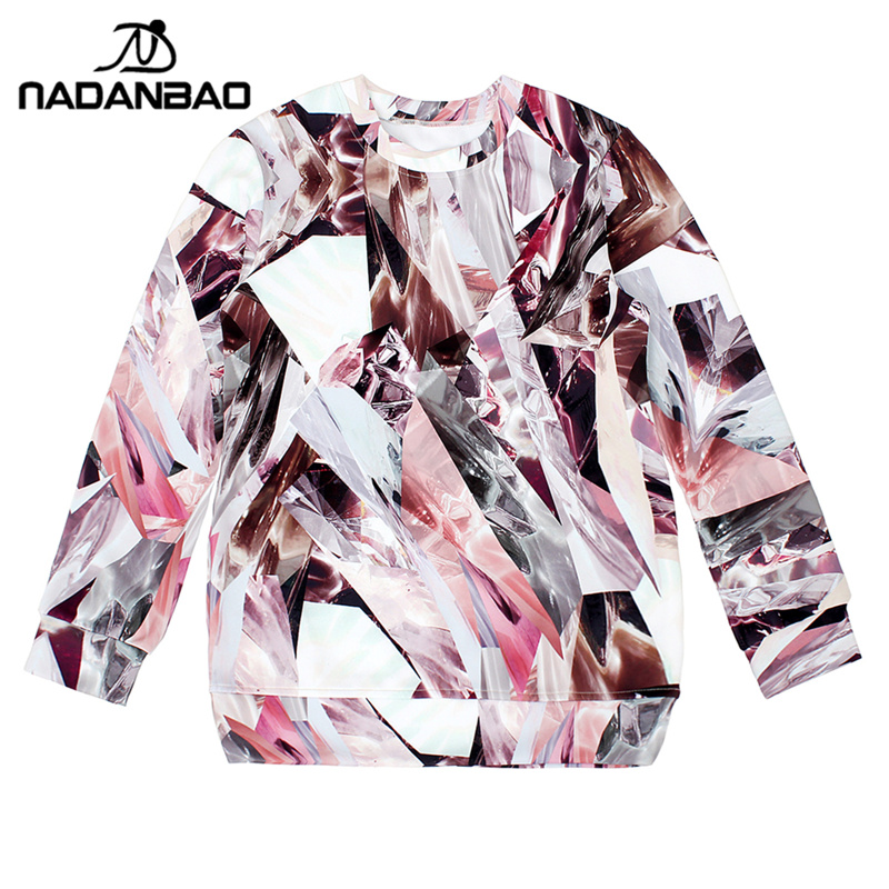NADANBAO New Arrival Diamond debris Women Hoodies high quality 3D Print Pullovers Sweatshirts star Molten