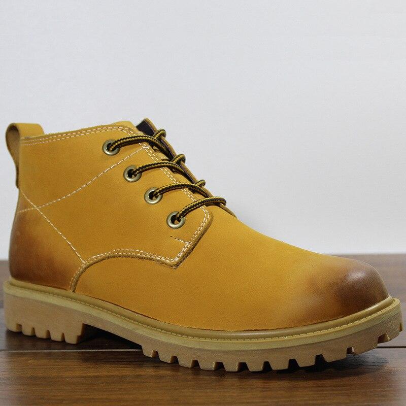 Sapatos Cashmere Couro amarelo Retro Botas Chelsea marrom Inverno Equitação Preto De Britânico Masculino Quente E Deserto Outono Dos Homens Altas Do A6FvwtqvR