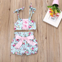 Fashion&lovely Toddler Kids Bbay Girls Floral Swimsuit  Bikini  Two-piece Suit Sling shirt