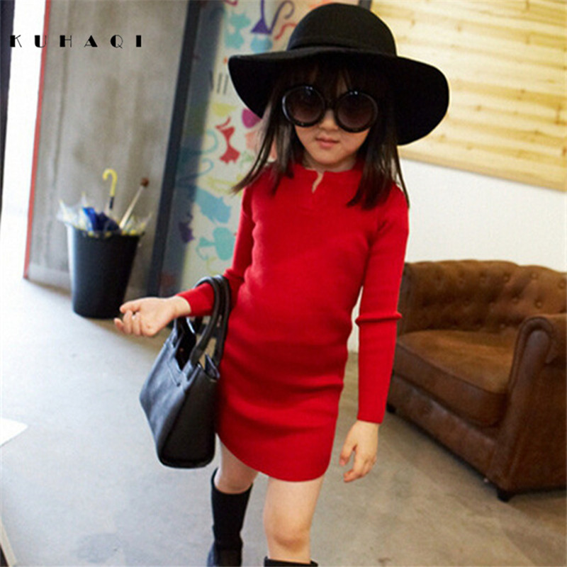 2017 Autumn Winter Fashion Baby Girl Slim Long Sleeve Knit Sweater Dress Kid Christmas Dresses Children Party Clothes 6638 2017 winter sweater dress for girls sweater clothing long sleeve kids girl dresses sweater dresses baby girl winter clothes