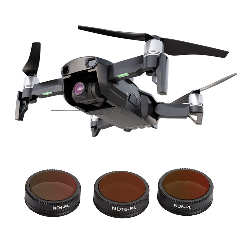 TELESIN 3Pcs Waterproof ND-PL Lens Filter Set ND4/PL ND8/PL ND16/PL Filters for DJI Mavic Air Drone Camera Accessories original dji mavic air nd filters set nd4 8 16 for mavic air camera drone filter 3pcs filter dji mavic air accessories