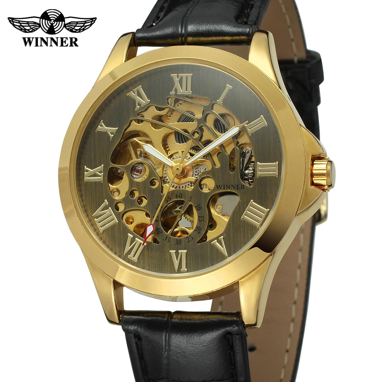 Relógio vencedor numerais romanos preto e dourado