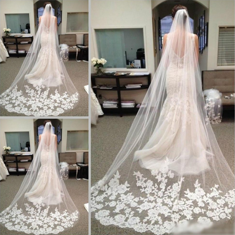 Most Popular 3 Meters Long Wedding Veils with Comb 2018 Grace Church Bridal Velo Comb Vail Accessories Floral Lace Applique Trim