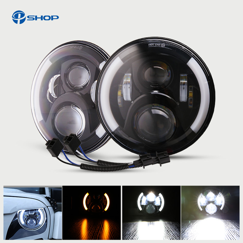1 Pair 7 Inch LED Headlight With Halo Angel Eyes For Lada 4x4 urban Niva Jeep JK Land rover defender Hummer Led Headlamp 2pcs 2017 new design 7 inch 40w motorcycle led auto angel eyes led headlight bulb with high quality