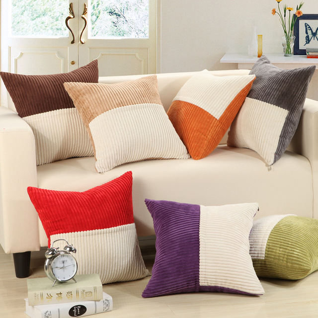 Assorted Solid Colors Corduroy Decorative Pillow Cover / Square Soft Sofa  Cushion Covers For Chair Good