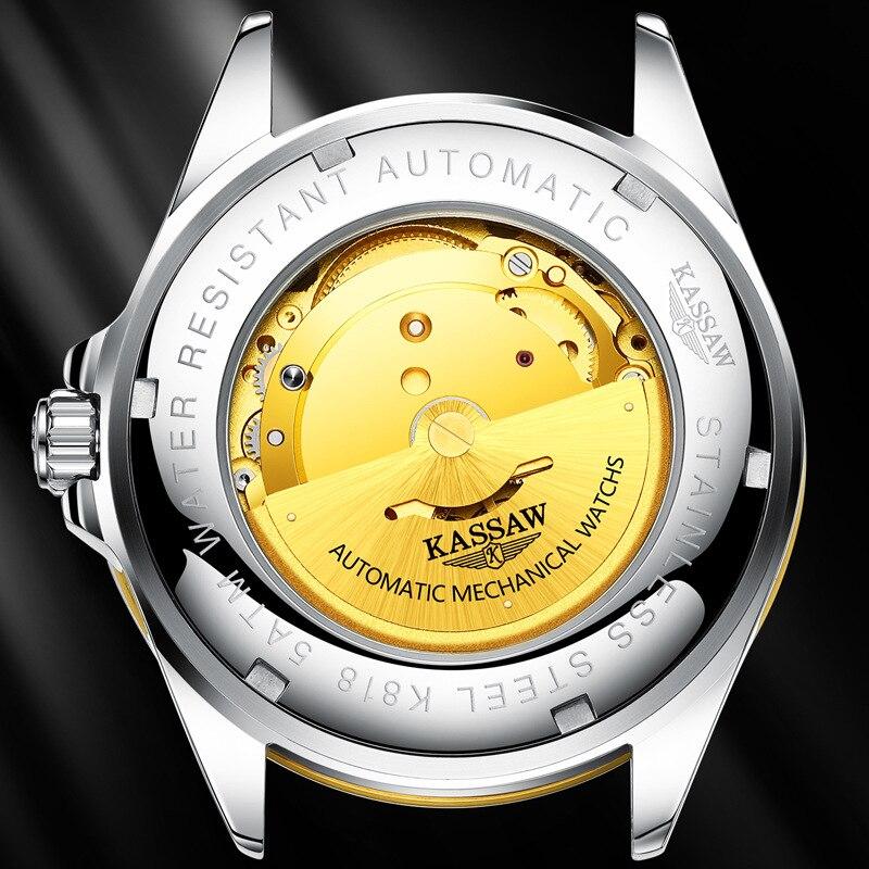 Original KASSAW hommes montres de luxe marque perpétuel calendrier Auto mécanique hommes horloge en acier saphir Relogio Masculino - 2