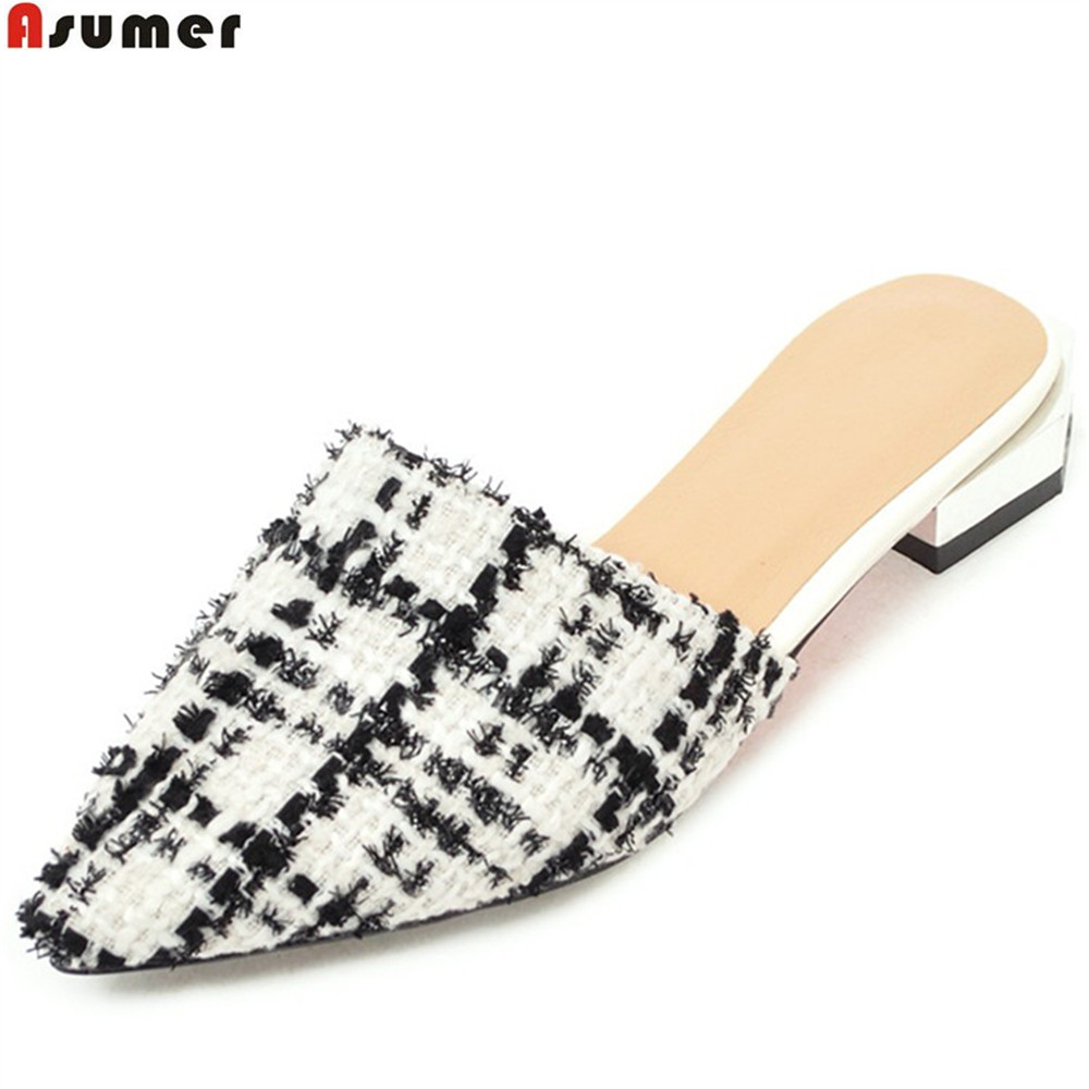 ASUMER fashion pointed toe casual 2018 summer ladies shoes square heel mules  comfortable women low heels slippers big size 33-43 14709c26e658