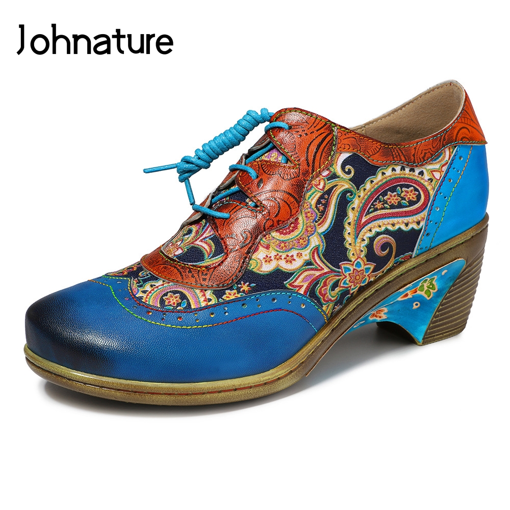 Johnature 2020 New Spring/Autumn Mary Janes Genuine Leather Square Toe Flower Casual Lace-up Sewing Retro Women Shoes Pumps