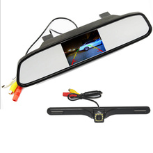 Best price Parking Assistance System 2 in 1 4.3 Digital TFT LCD Mirror Auto Car Parking Monitor + 170 Degrees Mini Car Rear view Camera