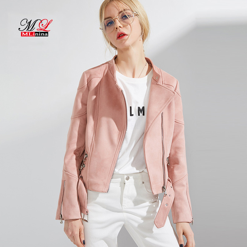MLinina Women   Leather   Jacket Zipper Moto Biker Short Faux Soft   Suede     Leather   Jackets Woman Female Turn-down Collar 2018 New Coat