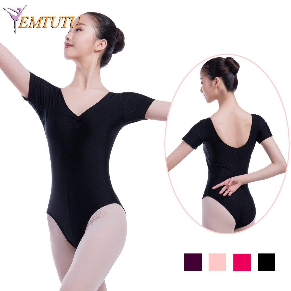 07e680176b Adulto leotards do bailado para mulheres Mangas Curtas Ballet Dança Collant  Preto Lycra Algodão Ballet Bodysuit