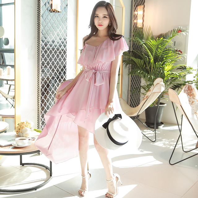 Dabuwawa New Summer Pink Ruffles Dresses Women Bow Lace Asymmetrical One-Shoulder Spaghetti Strap Dresses D18BDR086