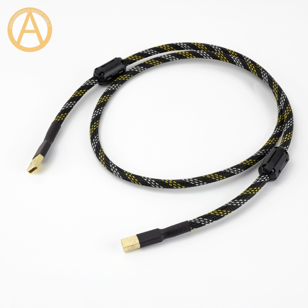 ANAUDIOPHILE HIFI USB Cable 4N OFC USB Type A To B Data Cable HiFi USB Audio Video Cable DAC PC