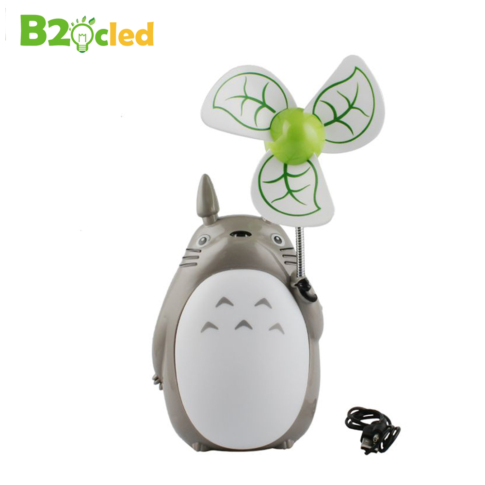 Totoro cartoon fan creative charging LED night light electric fan fan lamp mute student dormitory USB Fan warm white light lamp white rotating rechargeable led talbe lamp usb micro charging eye protection night light dimmerable bedsides luminaria de mesa