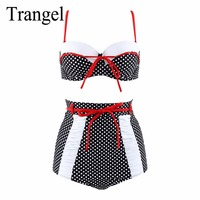 Trangel Plus Size 3XL High Waist Swimsuit 2017 Sexy Bikini Women Swimwear Push Up Bikini Set